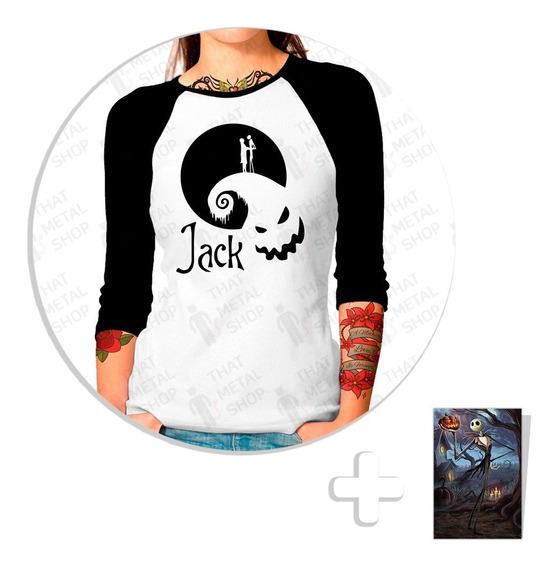 Envío Gratis Playera Raglan Dama Jack Skellington + Sticker Mod. 2
