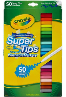 Crayola Marcador Lavable Super Tips 50 Unidades Originales
