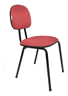Cadeira Secretaria Fixa Laminada Vermelha