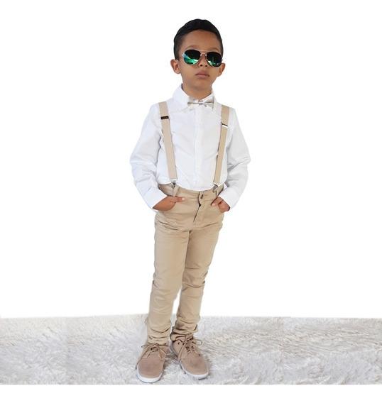 Conjunto Festa Batizado Infantil Branco Calça Bege Menino