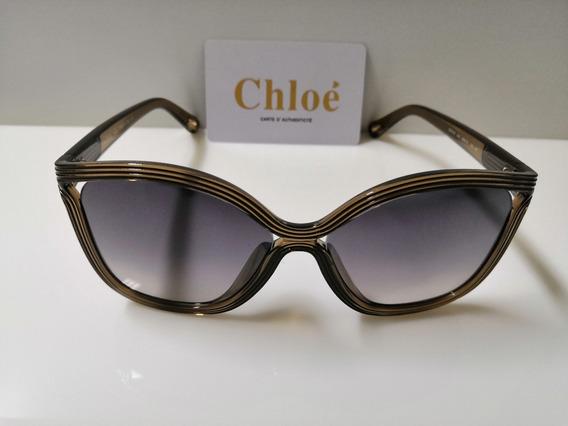 Óculos De Sol Chloé Ce737s Ocre E Lentes Cinza