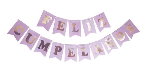 Banderín Feliz Cumpleaños Lila Pastel - Ciudad Cotillón