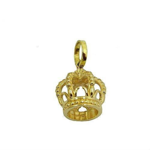 Pingente Coroa De Ouro Amarelo 18k C/corrente Vivarjoias M24
