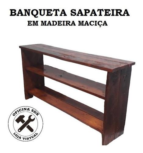 Banqueta Sapateira 2 Prateleiras De Madeira - Artesanal