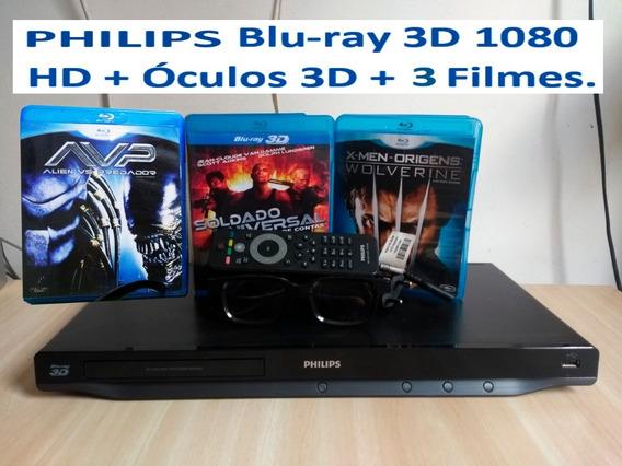 Blu-ray Philips Bdp6200x/78 + Óculos 3d + 3 Filmes.