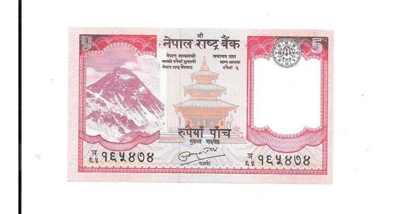 Liquido Excelente Billete De Nepal. 5 Rupias 2009 Unc