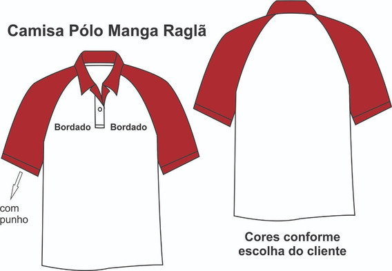 08 Camisas Polo Manga Raglã Com 02 Bordados No Peito