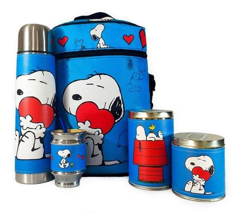 Imagen 1 de 8 de Equipo De Mate Completo Snoopy Cuero Set Kit Matero Completo