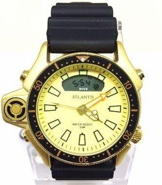 Relógio Masculino Atlantis Borracha Fundo Dourado