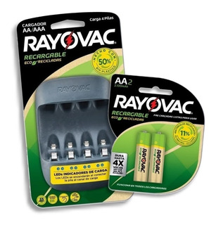 Cargador De Pilas Rayovac Usb + 2 Pilas Aa Eco Recicladas