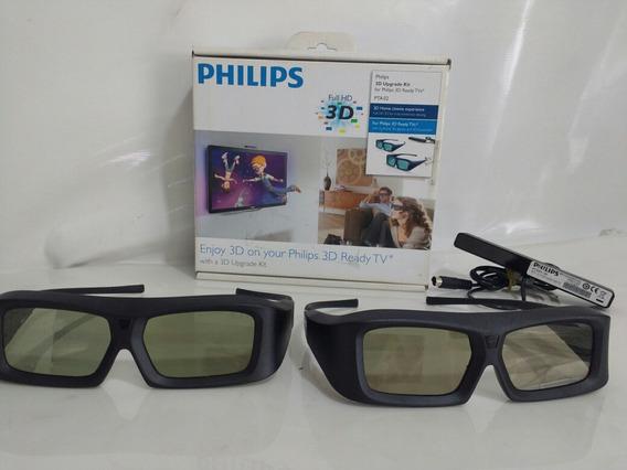 Kit 2 Óculos 3d Philips Pta02 Ativo + Receptor + Atualização