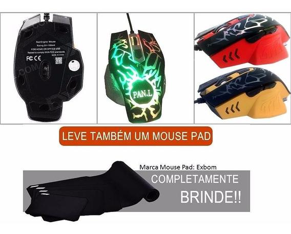 Mouse Gamer Laser Com Macro 6 Botões 3200 Dpi Usb Iluminado