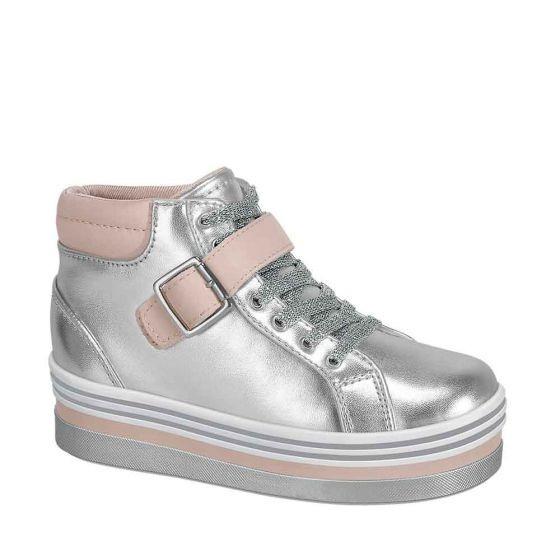 Tenis Casual Tipo Bota Niña Urban Shoes Plata 828933 Bo19 E