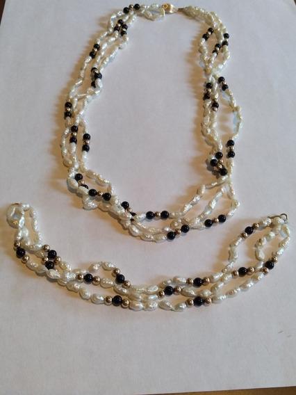 Collar Y Pulsera Perlas De Rio 3 Hilos Y Onix Oro 14 Kts