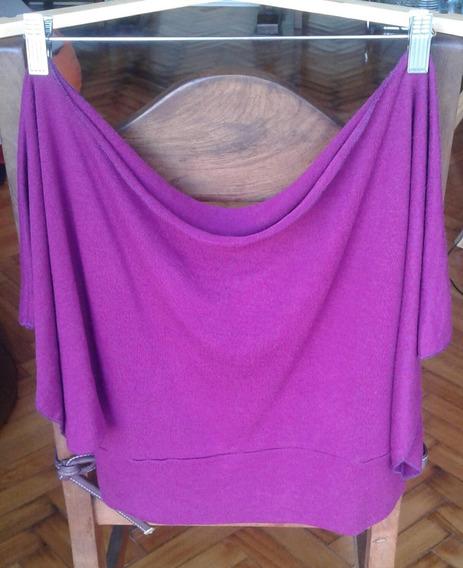 Sweater Corto Remera Mangas Murciélago Cuello Bote Mujer