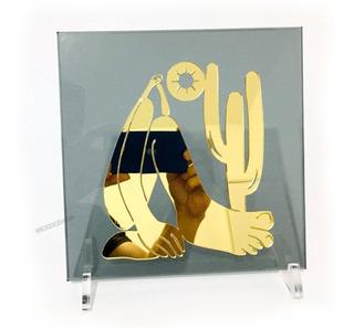 Enfeite De Mesa Abaporu Dourado Tarsila Do Amaral 20x20cm