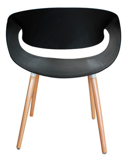 Silla Sillón Deco Patas De Madera Tipo Eames Negra