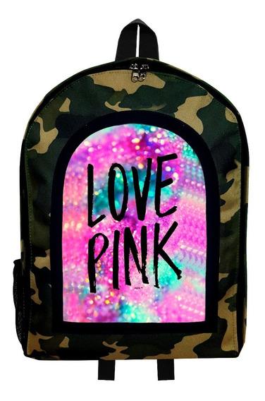 Mochila Reforzada Camuflada Mujer Love Pink 2 Givan