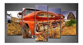 5 Paneles Arte De Pared Naranja Viejo Coche Abandonado En E