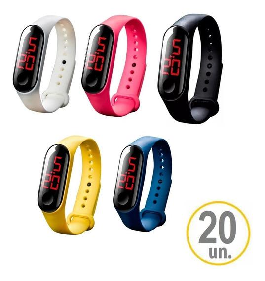 20 Relógios Digital Unissex Led Sport Pulseira Bracelete Cor