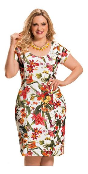 Vestido Tubinho Floral Tamanhos M G Gg Eg Xg