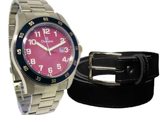 Relógio Masculino Champion Dourado C/ Vermelho+cinto Social