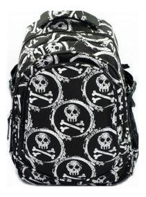 Mochila Caveira Crânios Skull Moda Rock Notebook Caveirinhas