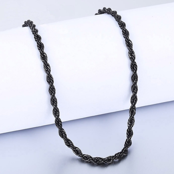 Cadena Negra Torsal Acero Inoxidable 2mm X 60cm