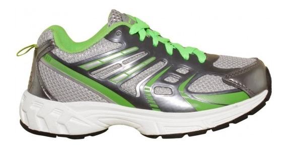 Tenis Para Correr Mujer Marca Galaxy Textil Gris Verde 3777