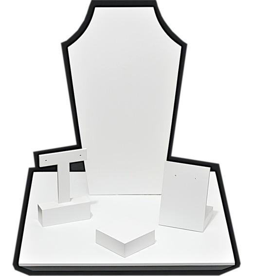 Kit Expositor Vitrine Loja - 5 Peças Busto Brinco Anel Base