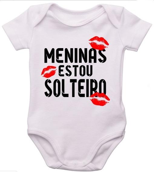 Body Infantil Bebe Personalizado Frase Menina Estou Solteiro
