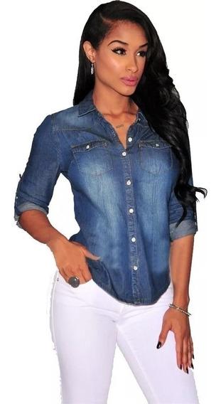 Camisa Blusa Jeans Escura Feminina Envio Imediato Novo V2