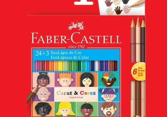 3x Lápis Cor Ecolápis 24 +3 Tons Caras E Cores Faber Castell
