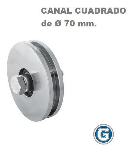 Imagen 1 de 6 de Rueda Acero Canal H Cuadrado U 70 Mm Ruleman Portón Granero