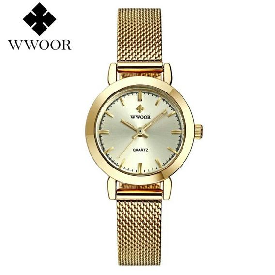 Relógio Feminino Dourado Luxo Frete Grátis Promoção