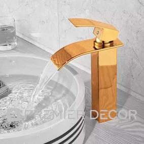 Torneira Monocomando Lavabo Banheiro Prime Dourada Bica Alta