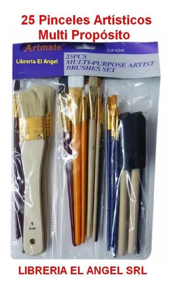 Conjunto De Pinceles Artisticos X 25 Surtidos Artmate