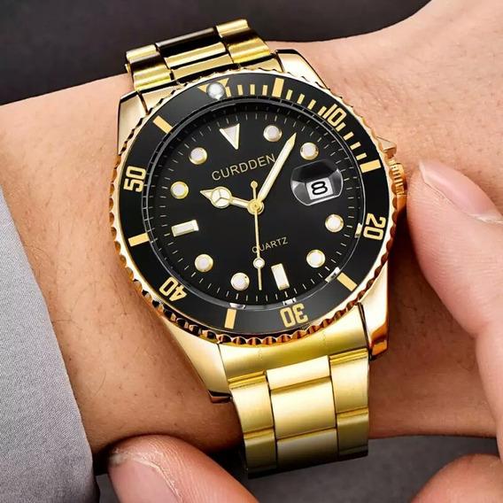 Relógio Masculino Folheado A Ouro,garantia 1 Ano Certificado