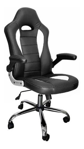 Imagen 1 de 1 de Silla de escritorio Baires4 PS4 gamer ergonómica  negra y blanca con tapizado de cuero sintético