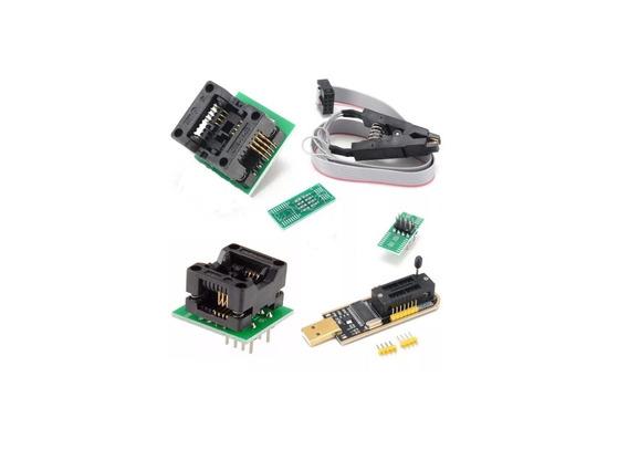 Kit Gravador Eprom Bios Ch341a Pro Ch341 +pinça+ Adaptadores
