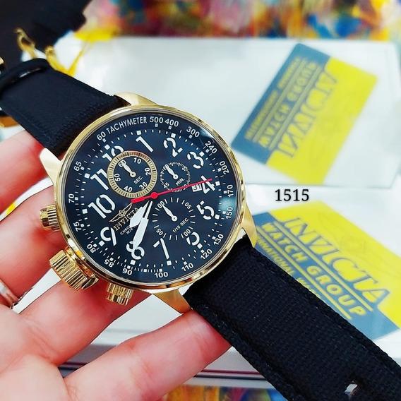 Relógio Invicta 1515 Dourado Aço 18k Couro Preto * I Force