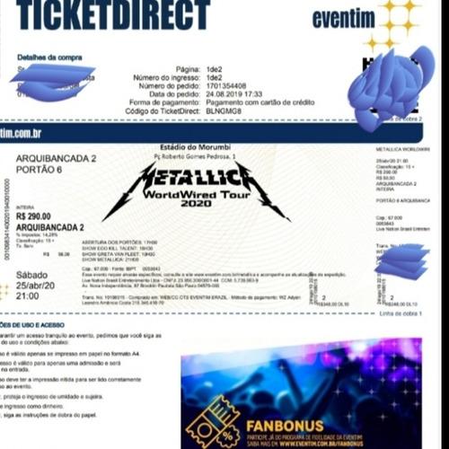 2 Ingressos Show Metallica - 18/12/2020 Arquibancada 2