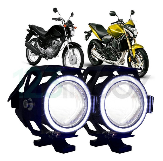 Kit Par Farol Milha Moto Led Angel Eyes 15w Strobo Com Plug