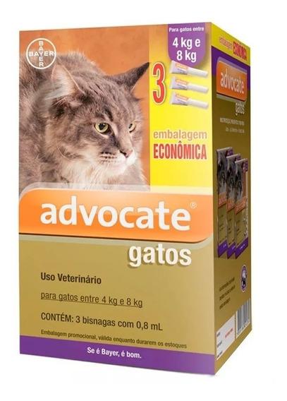 Combo Antipulga Advocate Para Gatos De 4 À 8kg - 3 Pipetas