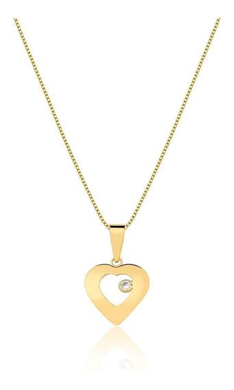 Corrente Veneziana Ouro 18k 750 40cm + Pingente Coração