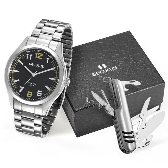 Relógio Masculino Seculus Aço Prata Kit 28865g0svna1k1