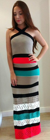 Vestido Longo Collors Tricot (tamanho Único)