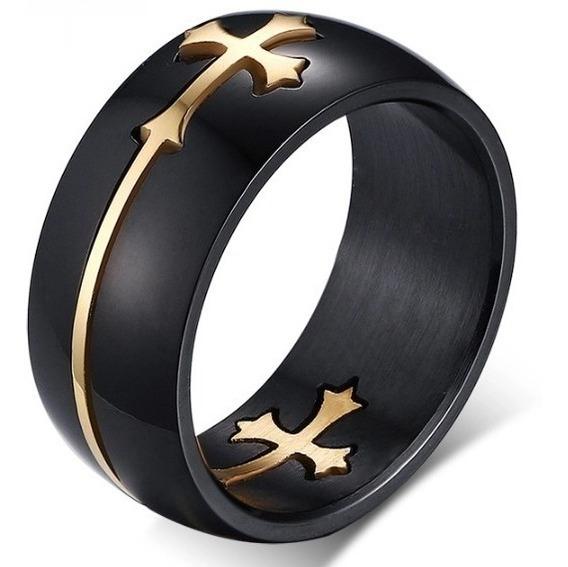 Par De Anéis Cruz Titânio Preto ,banhada A Ouro Ou Prata