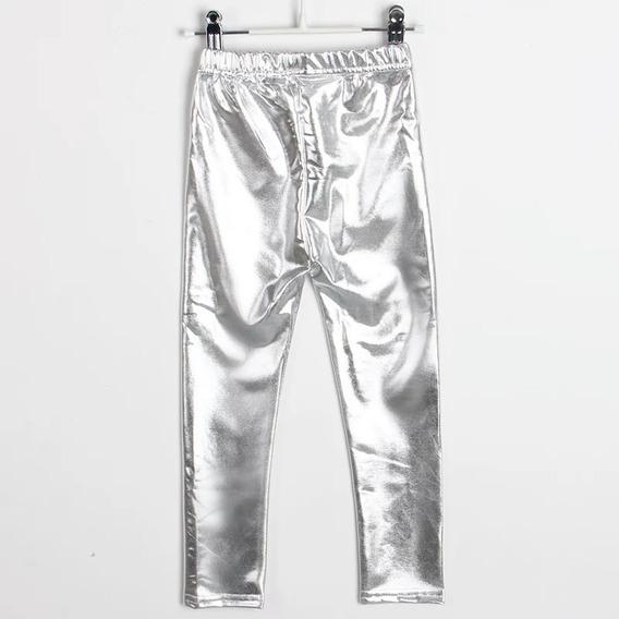 Calça Legging Infantil Cirrê Metalizada Mini Super Star