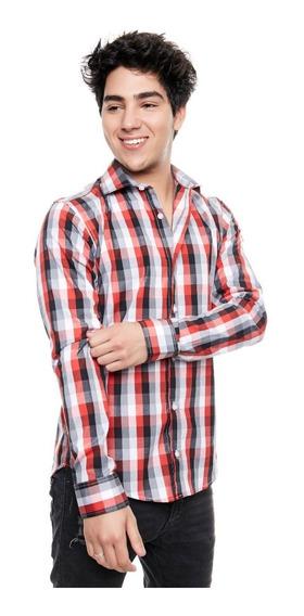 Camisa Manga Larga Caudros Rojo Hombre Outside Tokyo 1476r